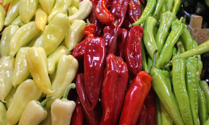 Almost like the Hungarian flag, fresh pepper in every colour on the market in Budapest