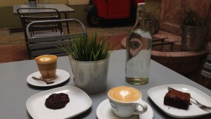 Cappuccino and flat white with cakes on our Coffee Tour, Budapest