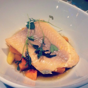 Trout in mushroom consommé at St. Andrea Wine Bar, Budapest