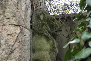 A lion is guarding a crypt at the Jewish cemetery, Budapest