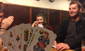 Learning some Hungarian card games on the Games Night, Budapest