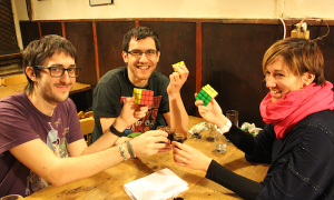 Celebrating that we solved the Rubik's cube with a local drink on the Hungarian Games Night