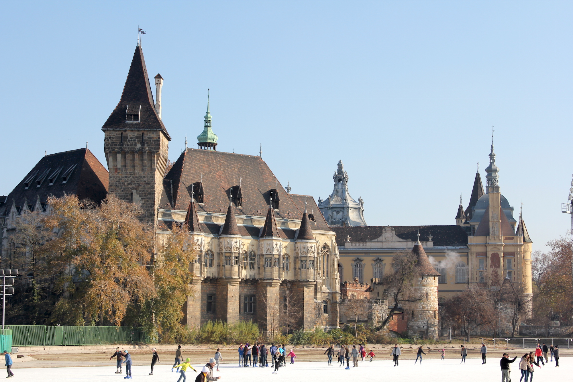 Ice skating in front of the castle of Vajdahunyad