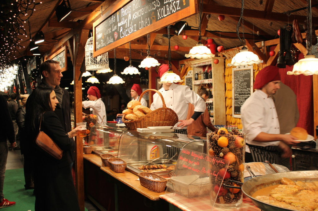 Food stalls at the Budapest Christmas Market