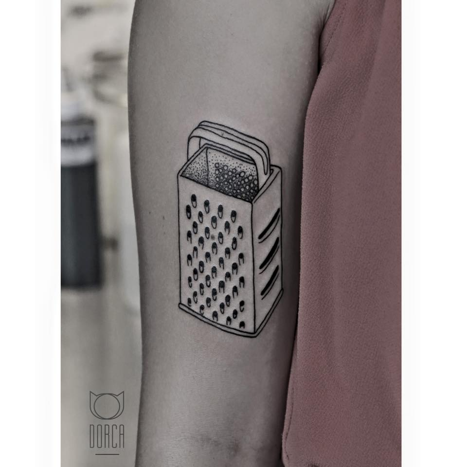cheese grater tattoo by dorca budapest 101. Black Bedroom Furniture Sets. Home Design Ideas