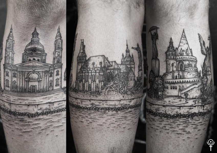 A tattoo of Budapest's monuments, made by Gábor Zólyomi