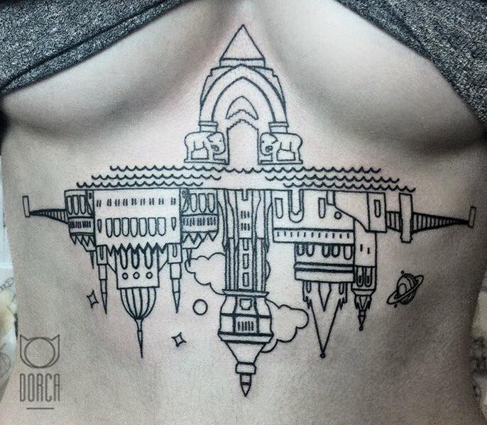 A creative tattoo of Budapest's architecture by Dorca