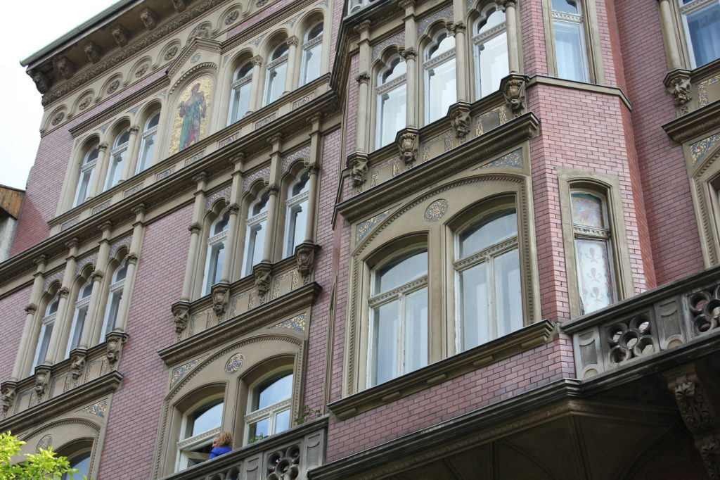 Mosaics, facade of an apartment building in Budapest