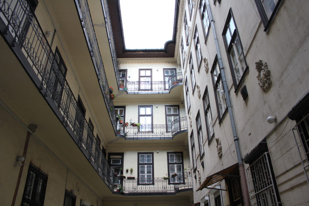 A courtyard of an apartment building in Budapest