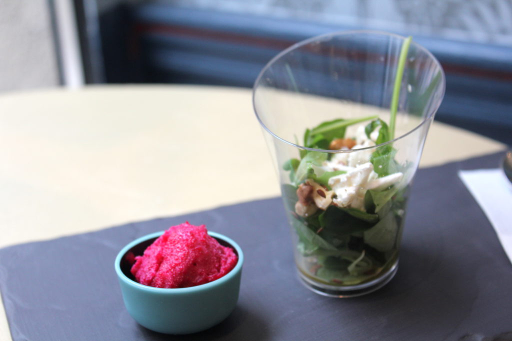 Beetroot ice cream with goat cheese salad