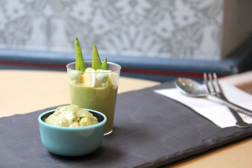Green pea gelato with asparagus mousse