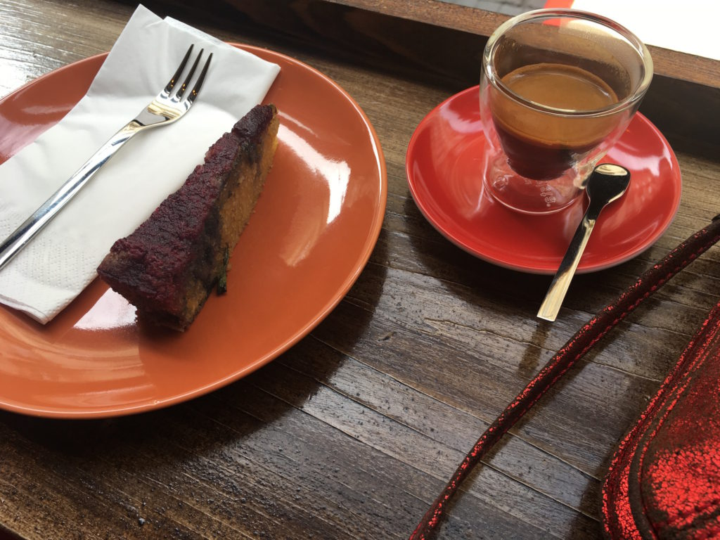 Rosemary olive oil cake and an espresso at London Coffee Society