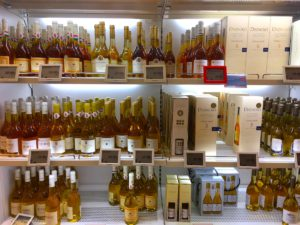 Great selection of Tokaji sweet wines at the Duty Free Shop