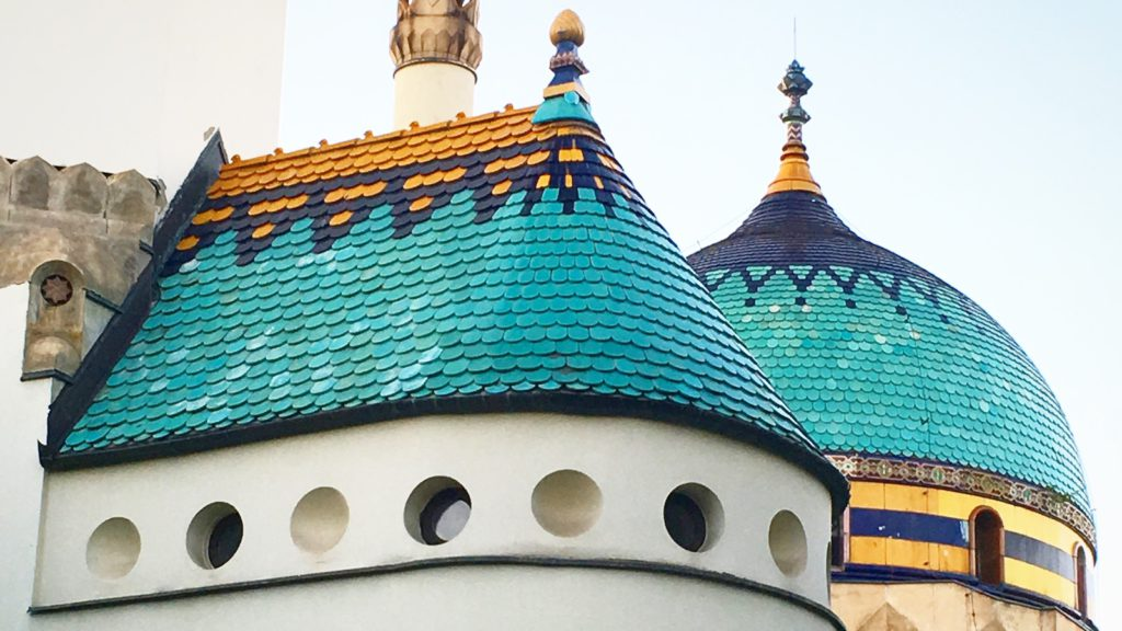 Budapest Art Nouveau Tour - the Zsolnay rooftop of the Elephant House (Budapest zoo)