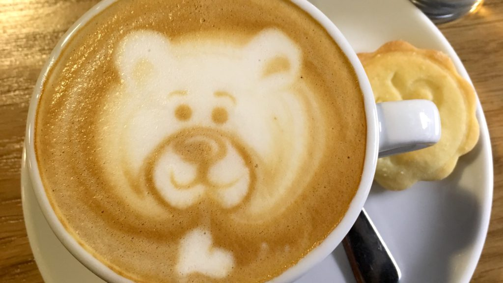 Cute bear latte art in Budapest