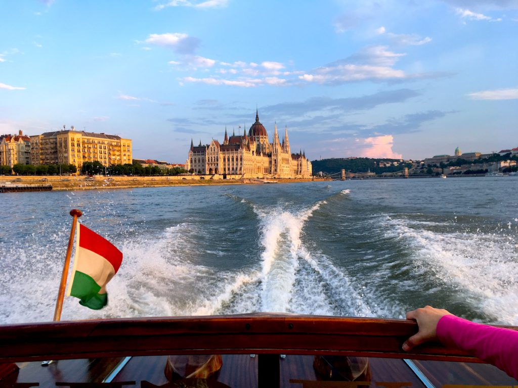 Speed boat ride in Budapest, the Hungarian Parliament in the background