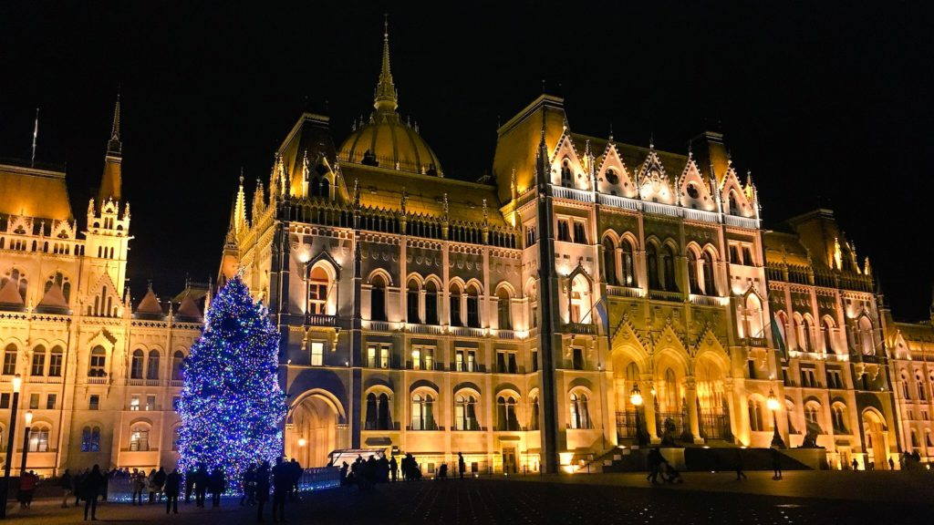 The Christmas lights of the Hungarian Parliament